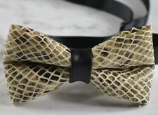 MEN WOMEN Snake PYTHON PRINTED  Grey Faux Leather Bow tie Bowtie Wedding Party