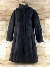 Calvin Klein Puffer Coat Jacket Womens Medium Brown Duck Down Long Hooded Parka