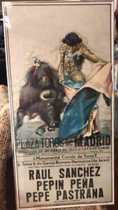 Original 1977 Plaza de Toros de Madrid Poster  Print in Spain RARE Color 41X20.5
