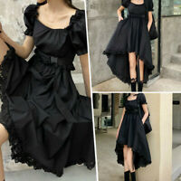 Lolita Dress Kawaii Goth Women Girl Ruffle Sleeve Cute casual Pleated Retro NEW