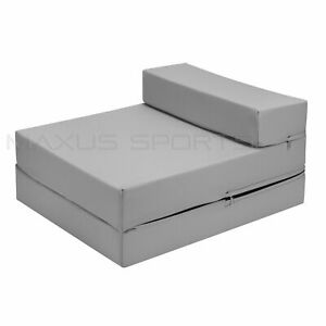 Grey Futon mattress foldable single foam chair bed guest sofa layabout