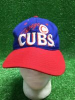 Blue Vintage Rare Chicago Cubs Hat SnapBack Red Baseball National Champs Distres