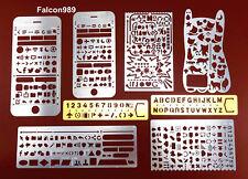 8pc Draw Graffiti Hollow Letter Digital Number Web UI/IOS Template Stencil Ruler
