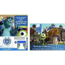 MONSTERS UNIVERSITY INC 8 INVITATION Envelopes Thank You Cards Party Supply 7-7B