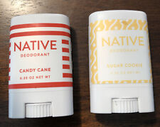 Lot Of 2 Native Mini Deodorant Holiday Sugar Cookie Candy Cane .35 Oz Each New