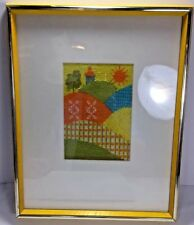Vintage Mid Century 60's/70's Framed Needlepoint Hills And SunRise Bright Yellow