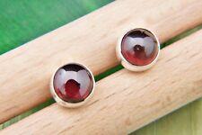 Ohrstecker Ohrringe Silber 925 Sterlingsilber Granat rot Stein