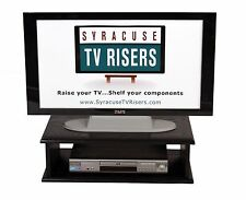 Black Double Top TV Riser-Solid ,Safe real wood,open-26x14x8-Syracuse TV Risers