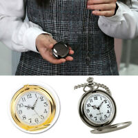 Vintage Men Steampunk Smooth Surface Pendant Chain Pocket Watch Charm
