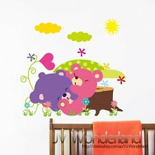 New 4 Animals Zoo Baby Bear Tree Love Removable Kids Wall Stickers Decal Nursery