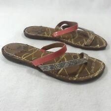 Sam & Libby Women's Sz 9 M Orange Brown Silver Flip Flop Summer Sandals