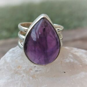 AMETHYST SAGE NATURAL GEMSTONE 925 STERLING SILVER HANDMADE JEWELRY RING 3 TO 12