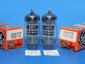 PAIR OF NOS NIB GE 5 STAR 6072 TROPHY TUBES TV/7 AND AMPLITREX TESTED 12AY7
