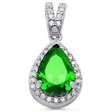 Exquisite 5 ct. Emerald Pear Pendant in Solid Sterling Silver - Gift box incl.