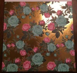 12x12 Gold Foiled Background With Flowers Scrapbooking Paper