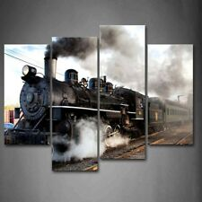 Framed Old Steam Trains Wall Art Painting Picture Canvas Print Train Pictures