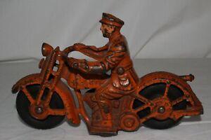 1930's Hubley Cast Iron Patrol Motorcycle, Original