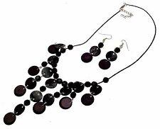 Collar Con Cuentas con Cuentas Joyería joyas joyas de concha negro AW53