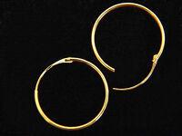 18ct White / Yellow Gold Hoop Sleeper Creole Earrings, Hinged, 11mm, Box