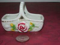 Vintage Occupied Japan Figurine Porcelain Ceramic Flower Basket Holder