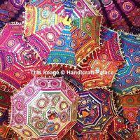 5 PC Lot Décoratif Indien Main Brodé Ombrelle Vintage Pare Soleil Parapluie