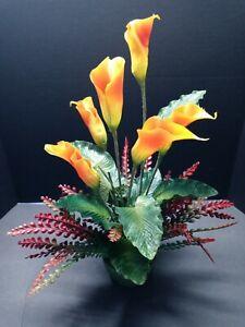 VINTAGE Calla Lily Table Centerpiece Silk Flower Floral Arrangements