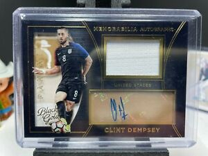 2016-17 Black Gold Soccer CLINT DEMPSEY Match Worn Patch Autograph USA AUTO