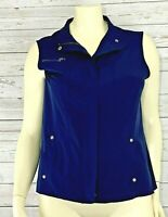 Chicos Zenergy Women's 3/ XL Windbreaker Vest Zip Front Vest Pockets Navy Blue