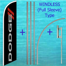 Dodge Windless Feather Flag + Pole Mount Kit Tall Curved Flutter Swooper Banner
