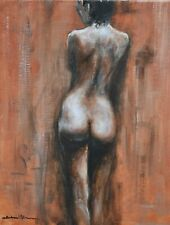 Richard Blowey Original Oil Painting - Portrait Of A Nude Woman (Cornish Art)