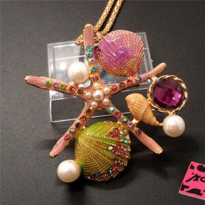 Betsey Johnson Purple Enamel Starfish Shell Crystal Sweater Chain Necklace