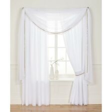"""Voile 3"""" Tape Top Lined Curtains - White - 44x90"""" - SS01 73"""