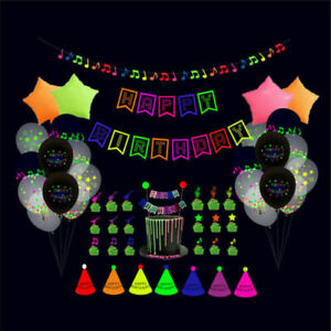 43/54Pcs Glow Birthday Party Supplies Decorations Neon Glow in the Dark Decor US