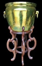 """MAITLAND SMITH 37"""" Hammered Brass Jardiniere Planter Plant Stand MCM Chinoiserie"""
