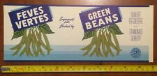 GREEN BEANS FÈVES VERTES  tin can label vintage 1940's french Canadian fruits