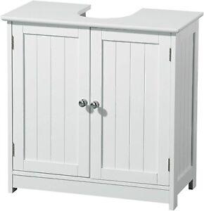 Under Sink Cabinet Cupboard Unit Double Doors Storage Bathroom Furniture White