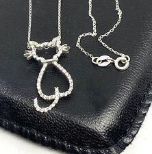 Designer Lg White Cz's Kitty Cat Sterling Silver 925 Pendant 16� Necklace