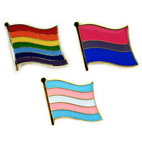 """SET OF 3 LGBT PRIDE FLAG LAPEL PIN 0.5"""" Lesbian Gay Bi Trans Tie Hat Rainbow NEW"""