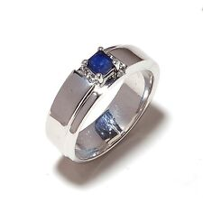 14 K White Gold Natural Gem Stone Sapphire Ring Men's Jewelry Us Size 7 8 9