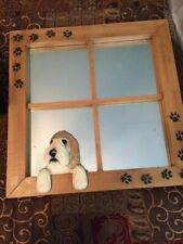 Petite Basset Griffon Vendeen Dog Mirror + Sculpture both Hand Painted & Signed