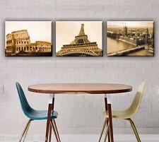 TIME4BILD PARIS LONDON ROM STADT LEINWAND auf Keilrahmen Sepia Braun CANVAS