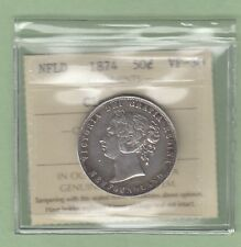 1874 Newfoundland 50 Cents Silver Coin - ICCS Graded VF-30 (Cleaned)