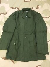 VINTAGE SWEDISH MILITARY SHIRT GREEN JACKET OLIVE BUTTON FRONT 1980