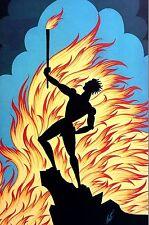 Erte 1987 Four Elements FIRE - MALE SILHOUETTE FLAMES TORCH FIREMAN Deco Print