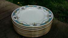 "Set of 9 Minton China England K102 aqua blue band black urn salad plates 7-3/4"""
