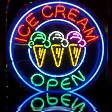 """New Sweet Ice Cream Open Real glass Neon Sign 32""""x32"""" Beer Lamp Light"""