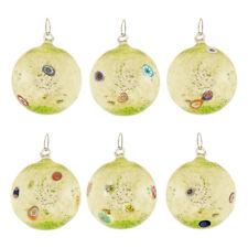 Set 4 palle palline di Natale vetro Murano verde fatte a mano murrina millefiori