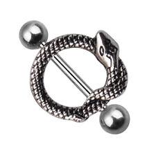 CO_ Men Women Stainless Steel Snake Nipple Bar Barbell Piercing Ring Jewelry Fas