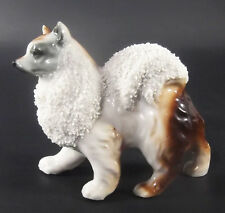 Spitz Dog Made In Japan Ceramic Figurine Brown White Gray Black Vintage