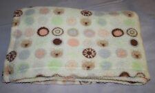 Baby Gear Baby Blanket Circles Polka Dots Ivory Peach Brown Teddy Bear Face